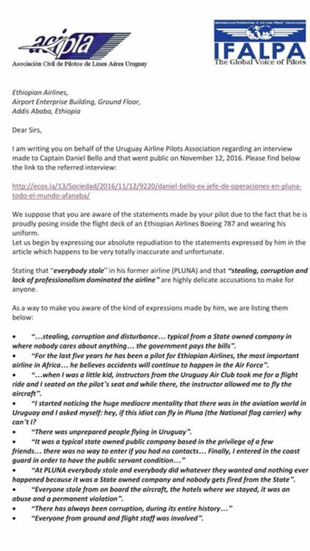 Dura carta de los pilotos uruguayos a Ethiopian Airlines por ...